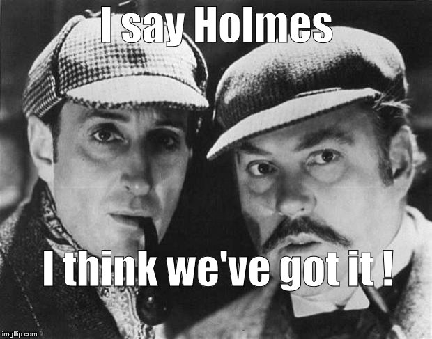 sherlock holmes | I say Holmes I think we've got it ! | image tagged in sherlock holmes | made w/ Imgflip meme maker