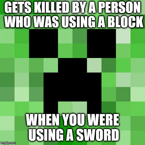 Scumbag Minecraft | GETS KILLED BY A PERSON WHO WAS USING A BLOCK WHEN YOU WERE USING A SWORD | image tagged in memes,scumbag minecraft | made w/ Imgflip meme maker