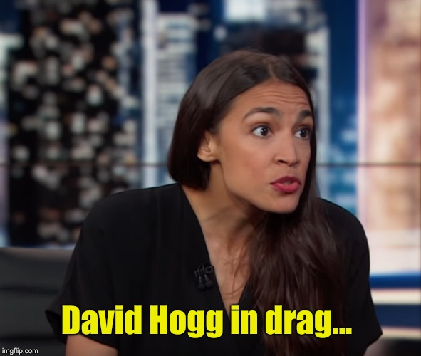 Socialism....say WHAT????  | David Hogg in drag... | image tagged in david hogg,alexandria ocasio-cortez,vote,help | made w/ Imgflip meme maker