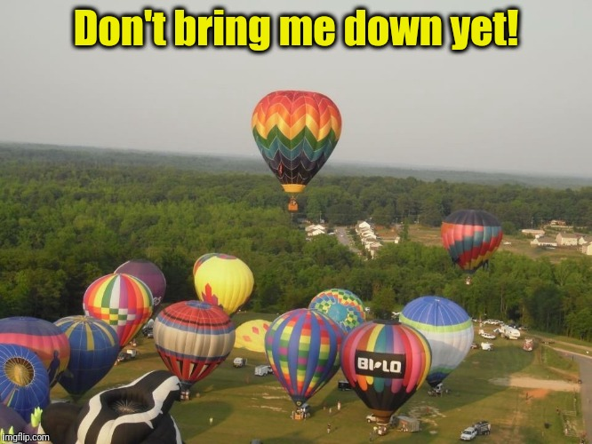 Summertime Hot Air Balloon Race | Don't bring me down yet! | image tagged in summertime hot air balloon race | made w/ Imgflip meme maker
