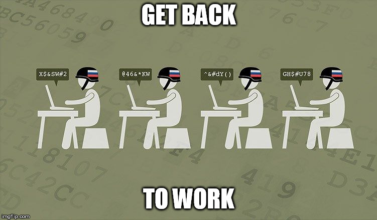 Troll Farm | GET BACK TO WORK | image tagged in troll farm | made w/ Imgflip meme maker