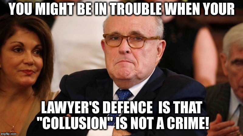 "Isn't that just a synonym for conspiracy? | YOU MIGHT BE IN TROUBLE WHEN YOUR LAWYER'S DEFENCE  IS THAT ""COLLUSION"" IS NOT A CRIME! 