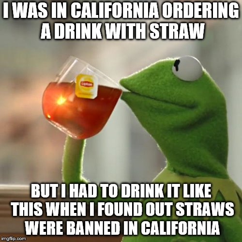 But That's None Of My Straws | I WAS IN CALIFORNIA ORDERING A DRINK WITH STRAW BUT I HAD TO DRINK IT LIKE THIS WHEN I FOUND OUT STRAWS WERE BANNED IN CALIFORNIA | image tagged in memes,but thats none of my business,kermit the frog,funny,straws,california | made w/ Imgflip meme maker