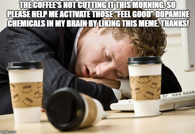"Coffee sleep | THE COFFEE'S NOT CUTTING IT THIS MORNING. SO PLEASE HELP ME ACTIVATE THOSE ""FEEL GOOD"" DOPAMINE CHEMICALS IN MY BRAIN BY LIKING THIS MEME. T 