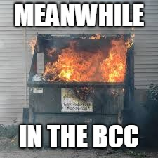 MEANWHILE IN THE BCC | image tagged in dumpster fire | made w/ Imgflip meme maker