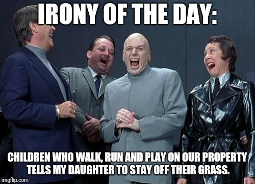 Laughing Villains Meme | IRONY OF THE DAY: CHILDREN WHO WALK, RUN AND PLAY ON OUR PROPERTY TELLS MY DAUGHTER TO STAY OFF THEIR GRASS. | image tagged in memes,laughing villains | made w/ Imgflip meme maker