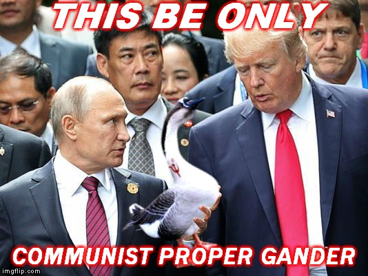 Only proper gander gets Putin oven... |  THIS BE ONLY; COMMUNIST PROPER GANDER | image tagged in propaganda,vladimir putin,donald trump,proper lady,goosebumps,gander | made w/ Imgflip meme maker