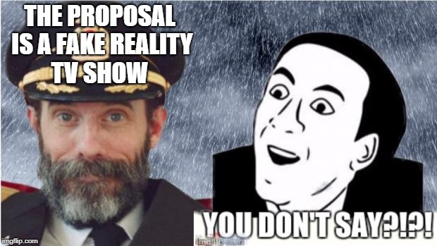 I Call them as i see them | THE PROPOSAL IS A FAKE REALITY TV SHOW | image tagged in captain obvious- you don't say,reality tv,fake people | made w/ Imgflip meme maker