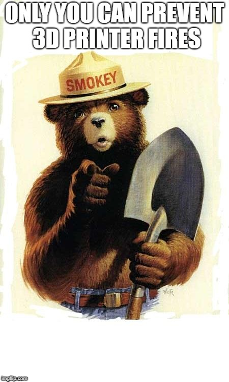 Smokey The Bear | ONLY YOU CAN PREVENT 3D PRINTER FIRES | image tagged in smokey the bear | made w/ Imgflip meme maker