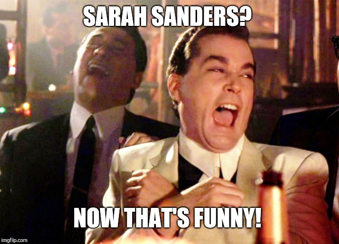 When idiots want to be taken seriously!  | SARAH SANDERS? NOW THAT'S FUNNY! | image tagged in memes,good fellas hilarious,donald trump | made w/ Imgflip meme maker