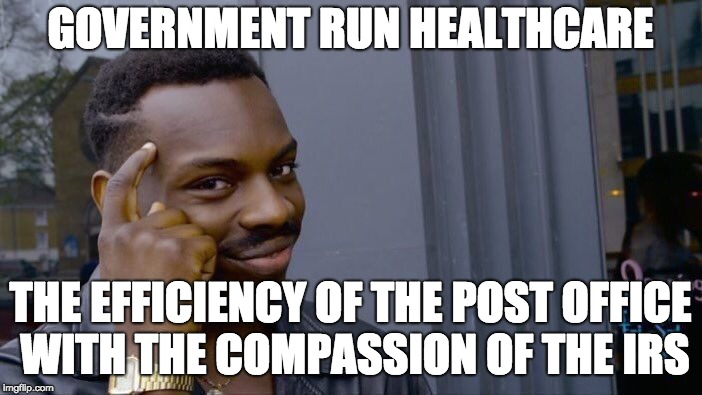 Roll Safe Think About It Meme | GOVERNMENT RUN HEALTHCARE THE EFFICIENCY OF THE POST OFFICE WITH THE COMPASSION OF THE IRS | image tagged in memes,roll safe think about it | made w/ Imgflip meme maker