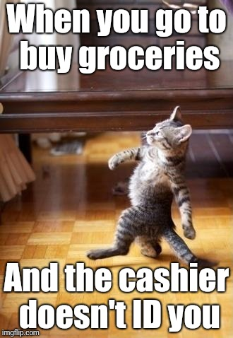 Cool Cat Stroll | When you go to buy groceries And the cashier doesn't ID you | image tagged in memes,cool cat stroll | made w/ Imgflip meme maker