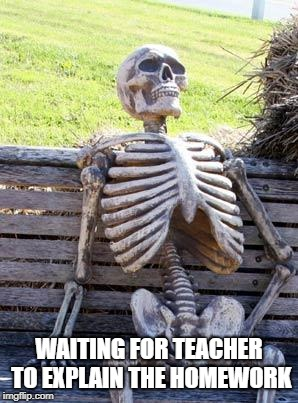 Waiting Skeleton Meme | WAITING FOR TEACHER TO EXPLAIN THE HOMEWORK | image tagged in memes,waiting skeleton | made w/ Imgflip meme maker
