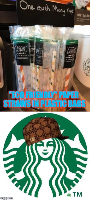 "So, putting paper straws in plastic bags is more eco friendly then throwing away hundreds of thousands of plastic straws? | ""ECO FRIENDLY"" PAPER STRAWS IN PLASTIC BAGS 