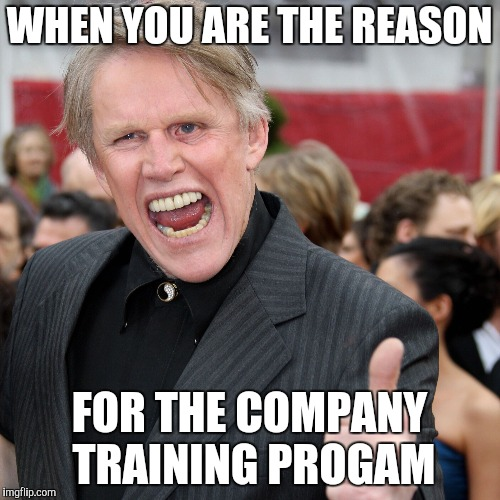 Gary Busey | WHEN YOU ARE THE REASON FOR THE COMPANY TRAINING PROGAM | image tagged in gary busey | made w/ Imgflip meme maker