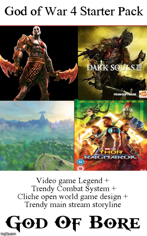 image tagged in starter pack,video games,god of war,avengers | made w/ Imgflip meme maker