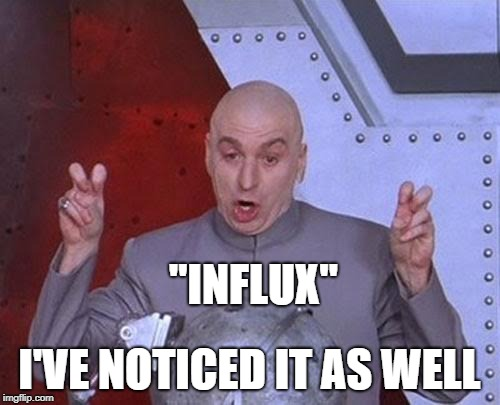 "Dr Evil Laser Meme | ""INFLUX"" I'VE NOTICED IT AS WELL 