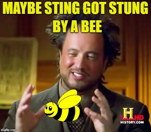 Ancient Aliens Meme | MAYBE STING GOT STUNG BY A BEE | image tagged in memes,ancient aliens | made w/ Imgflip meme maker