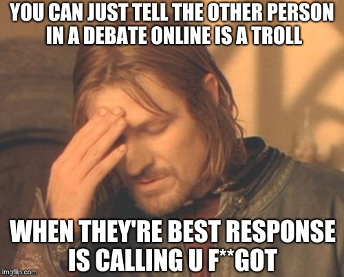 God, Do they stereotype themselves | YOU CAN JUST TELL THE OTHER PERSON IN A DEBATE ONLINE IS A TROLL WHEN THEY'RE BEST RESPONSE IS CALLING U F**GOT | image tagged in memes,frustrated boromir,trolls | made w/ Imgflip meme maker