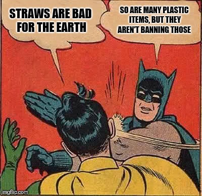 Batman Slapping Robin Meme | STRAWS ARE BAD FOR THE EARTH SO ARE MANY PLASTIC ITEMS, BUT THEY AREN'T BANNING THOSE | image tagged in memes,batman slapping robin | made w/ Imgflip meme maker
