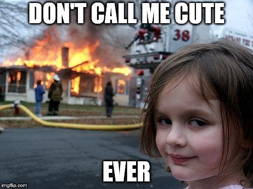 Disaster Girl Meme | DON'T CALL ME CUTE EVER | image tagged in memes,disaster girl | made w/ Imgflip meme maker