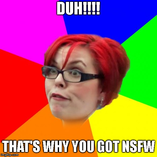 angry feminist | DUH!!!! THAT'S WHY YOU GOT NSFW | image tagged in angry feminist | made w/ Imgflip meme maker