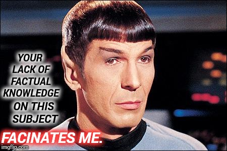Know Thy Subject Matter. |  YOUR LACK OF FACTUAL KNOWLEDGE; ON THIS SUBJECT; FACINATES ME. | image tagged in condescending spock,meme,memes,idiots,knowledge is power,spock illogical | made w/ Imgflip meme maker