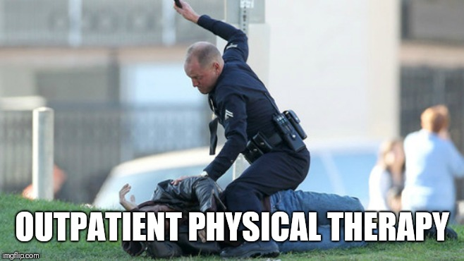 Cop Beating | OUTPATIENT PHYSICAL THERAPY | image tagged in cop beating | made w/ Imgflip meme maker