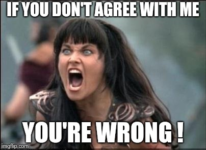 Angry Xena | IF YOU DON'T AGREE WITH ME YOU'RE WRONG ! | image tagged in angry xena | made w/ Imgflip meme maker