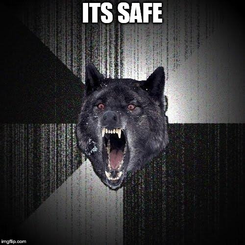 Insanity Wolf Meme | ITS SAFE | image tagged in memes,insanity wolf | made w/ Imgflip meme maker