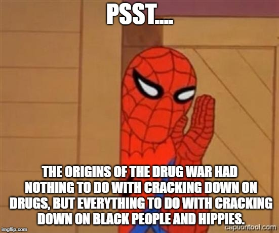 Spiderman Tells the Truth About the Drug War | PSST.... THE ORIGINS OF THE DRUG WAR HAD NOTHING TO DO WITH CRACKING DOWN ON DRUGS, BUT EVERYTHING TO DO WITH CRACKING DOWN ON BLACK PEOPLE  | image tagged in spiderman psst,war on drugs,drugs,richard nixon,libertarian | made w/ Imgflip meme maker