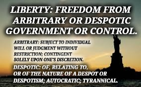 Give Me LIBERTY or Give Me Death | LIBERTY: FREEDOM FROM ARBITRARY OR DESPOTIC GOVERNMENT OR CONTROL. DESPOTIC: OF, RELATING TO, OR OF THE NATURE OF A DESPOT OR DESPOTISM; AUT | image tagged in liberty,democracy,republic,faith in humanity,meme,memes | made w/ Imgflip meme maker