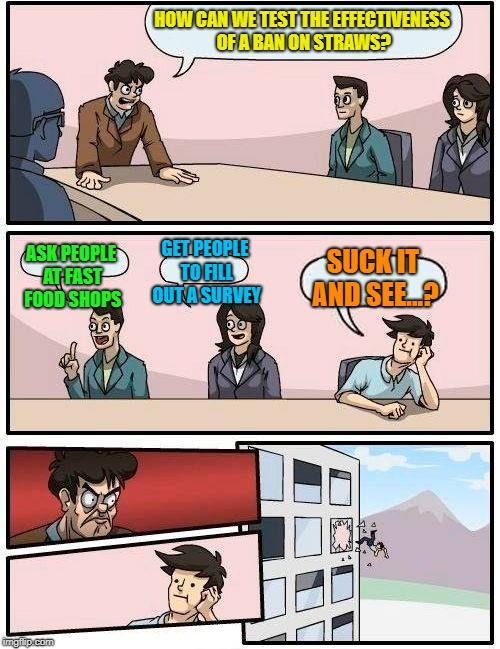 Boardroom Meeting Suggestion Meme | HOW CAN WE TEST THE EFFECTIVENESS OF A BAN ON STRAWS? ASK PEOPLE AT FAST FOOD SHOPS GET PEOPLE TO FILL OUT A SURVEY SUCK IT AND SEE...? | image tagged in memes,boardroom meeting suggestion | made w/ Imgflip meme maker
