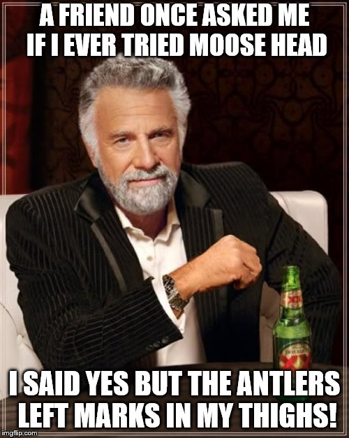 And yes I have smelled moth balls too. | A FRIEND ONCE ASKED ME IF I EVER TRIED MOOSE HEAD I SAID YES BUT THE ANTLERS LEFT MARKS IN MY THIGHS! | image tagged in memes,the most interesting man in the world,dad joke,oral sex | made w/ Imgflip meme maker