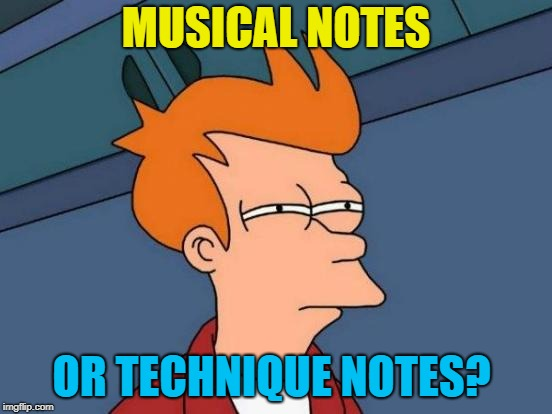 Futurama Fry Meme | MUSICAL NOTES OR TECHNIQUE NOTES? | image tagged in memes,futurama fry | made w/ Imgflip meme maker