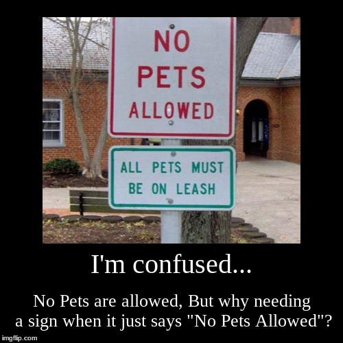 "When Signs Doesn't make Sence At All. | I'm confused... | No Pets are allowed, But why needing a sign when it just says ""No Pets Allowed""? 
