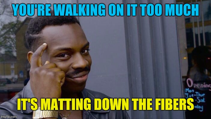 Roll Safe Think About It Meme | YOU'RE WALKING ON IT TOO MUCH IT'S MATTING DOWN THE FIBERS | image tagged in memes,roll safe think about it | made w/ Imgflip meme maker