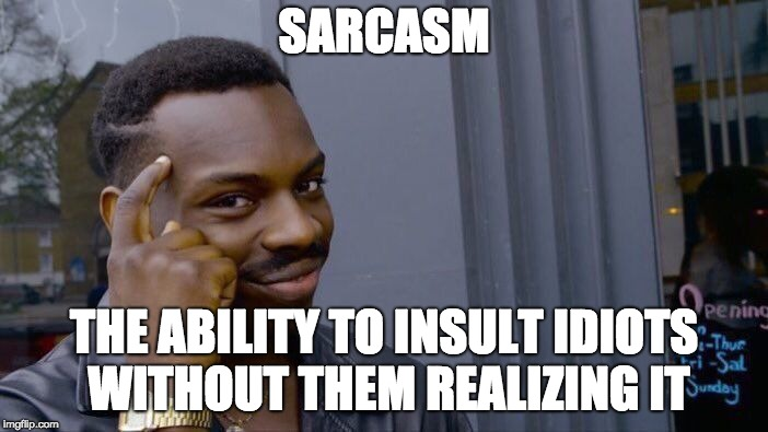 Roll Safe Think About It Meme | SARCASM THE ABILITY TO INSULT IDIOTS WITHOUT THEM REALIZING IT | image tagged in memes,roll safe think about it | made w/ Imgflip meme maker