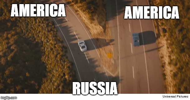 AMERICA RUSSIA AMERICA | image tagged in two roads and two cars divided,final scene fast and furios 7 | made w/ Imgflip meme maker