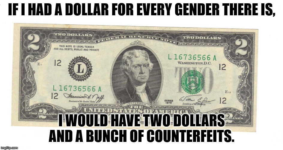 There is no $3 bill.  | IF I HAD A DOLLAR FOR EVERY GENDER THERE IS, I WOULD HAVE TWO DOLLARS AND A BUNCH OF COUNTERFEITS. | image tagged in two dollar bill | made w/ Imgflip meme maker