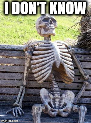 Waiting Skeleton Meme | I DON'T KNOW | image tagged in memes,waiting skeleton | made w/ Imgflip meme maker