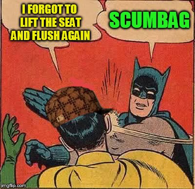 Batman Slapping Robin Meme | I FORGOT TO LIFT THE SEAT AND FLUSH AGAIN SCUMBAG | image tagged in memes,batman slapping robin,scumbag | made w/ Imgflip meme maker