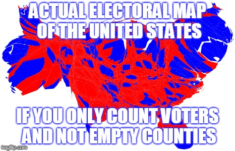 VOTERS MAP | ACTUAL ELECTORAL MAP OF THE UNITED STATES IF YOU ONLY COUNT VOTERS AND NOT EMPTY COUNTIES | image tagged in election 2016 | made w/ Imgflip meme maker