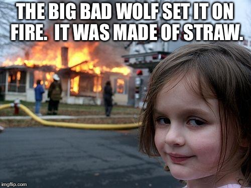 Disaster Girl | THE BIG BAD WOLF SET IT ON FIRE.  IT WAS MADE OF STRAW. | image tagged in memes,disaster girl | made w/ Imgflip meme maker
