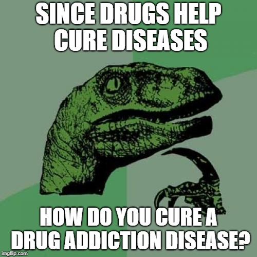 Philosoraptor Meme | SINCE DRUGS HELP CURE DISEASES HOW DO YOU CURE A DRUG ADDICTION DISEASE? | image tagged in memes,philosoraptor | made w/ Imgflip meme maker