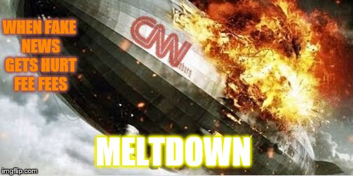 CNN Sucks | WHEN FAKE NEWS GETS HURT FEE FEES MELTDOWN | image tagged in cnn blimp,cnn fake news,jim acosta,butthurt | made w/ Imgflip meme maker