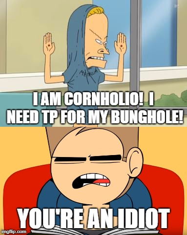 Tom Hates Beavis | I AM CORNHOLIO!  I NEED TP FOR MY BUNGHOLE! YOU'RE AN IDIOT | image tagged in beavis and butthead,eddsworld,beavis cornholio,idiot | made w/ Imgflip meme maker