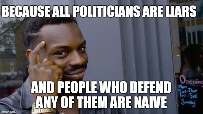 Unpopular opinion... | BECAUSE ALL POLITICIANS ARE LIARS AND PEOPLE WHO DEFEND ANY OF THEM ARE NAIVE | image tagged in memes,roll safe think about it,unpopular opinion,lying politician,liars | made w/ Imgflip meme maker