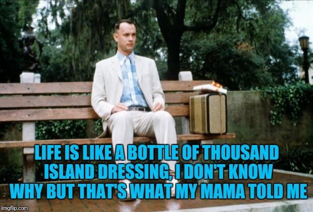 Forrest Gump | LIFE IS LIKE A BOTTLE OF THOUSAND ISLAND DRESSING, I DON'T KNOW WHY BUT THAT'S WHAT MY MAMA TOLD ME | image tagged in forrest gump | made w/ Imgflip meme maker