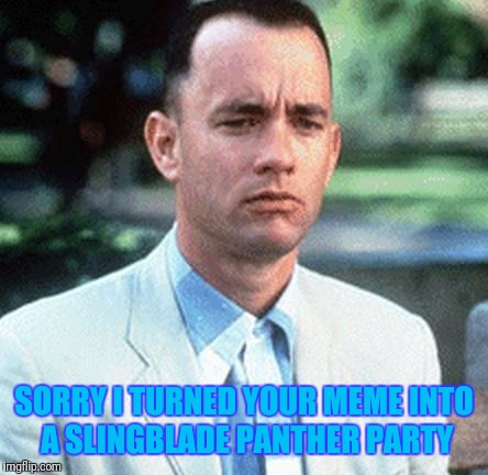 forrest gump | SORRY I TURNED YOUR MEME INTO A SLINGBLADE PANTHER PARTY | image tagged in forrest gump | made w/ Imgflip meme maker